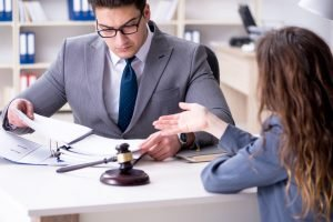 Lawyer and client working together